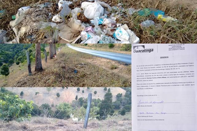 Produtor rural de Guaratinga denuncia depósito de lixo e contaminação do solo e água em sua propriedade