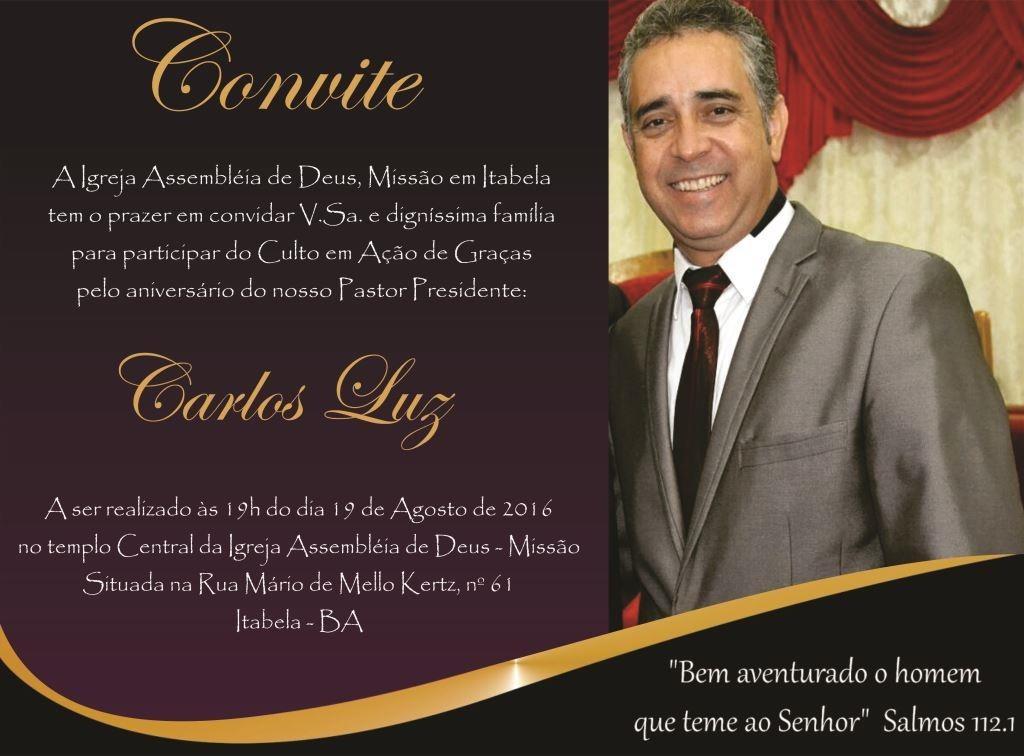 Culto Em Ação De Graças Pelo Aniversário Do Pastor Carlos Luz