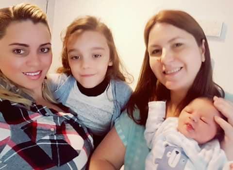 Branca com a filha, Cláudia e Ryan