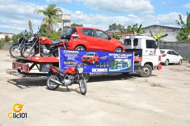 3 motocicletas e 1 veículo zero quilòmetro sorteador