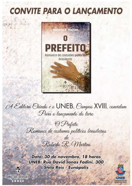 """Convite para lançamento do livro """"O Prefeito"""", de Roberto Martins"""