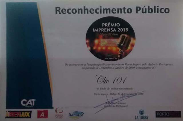 Portal de Notícias Clic 101 foi homenageado pelo reconhecimento público ao seu melhor conteúdo