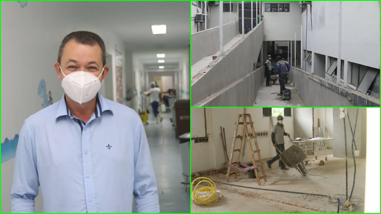 (1) Diretor do Hospital Regional de Eunápolis, Lúcio França; (2) Rampa que liga o térreo ao primeiro andar do HRE; (3) Sala de pós-operatório da obstetrícia está passando por ampliação