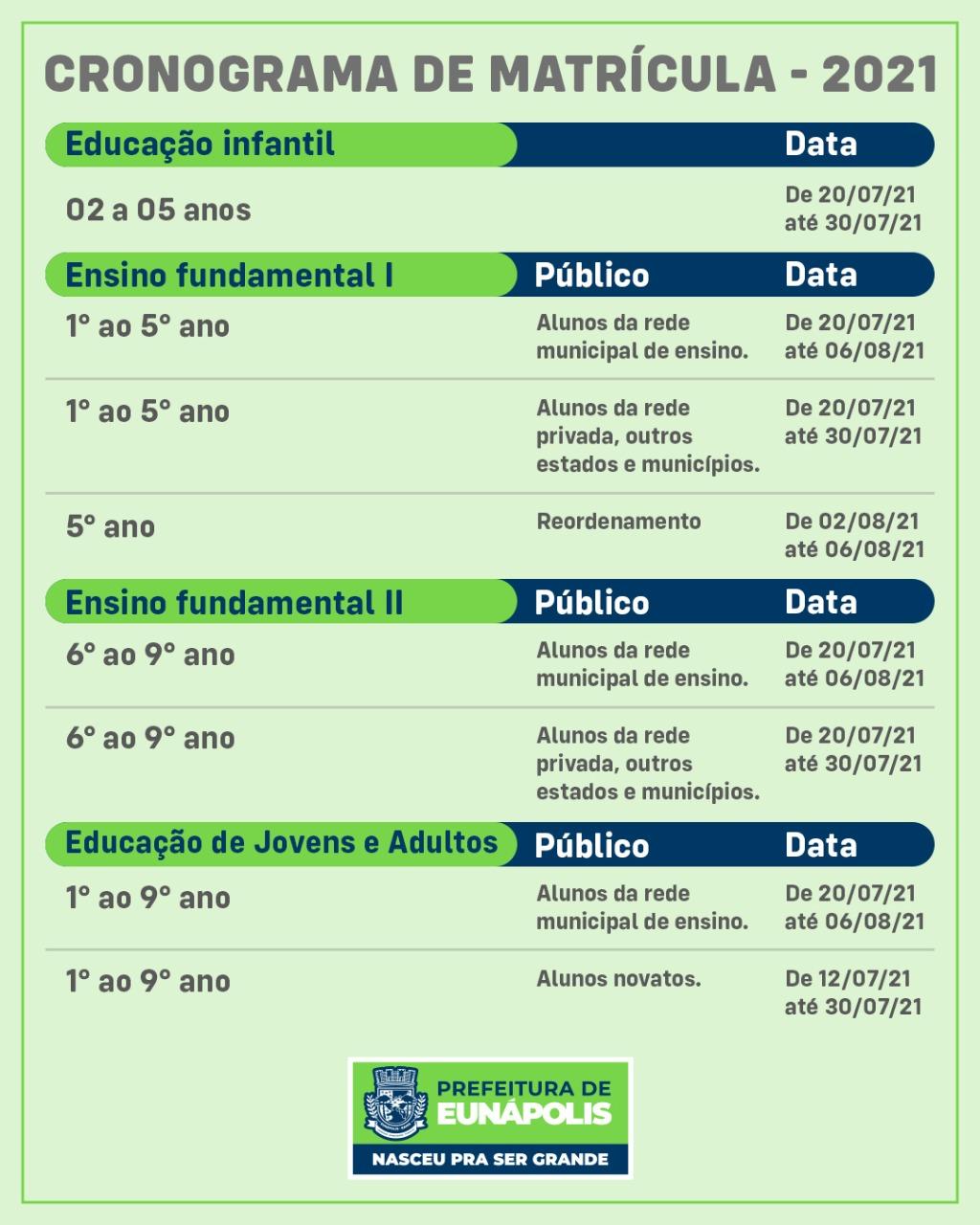 Cronograma de matrículas para o ano letivo 2021 em Eunápolis
