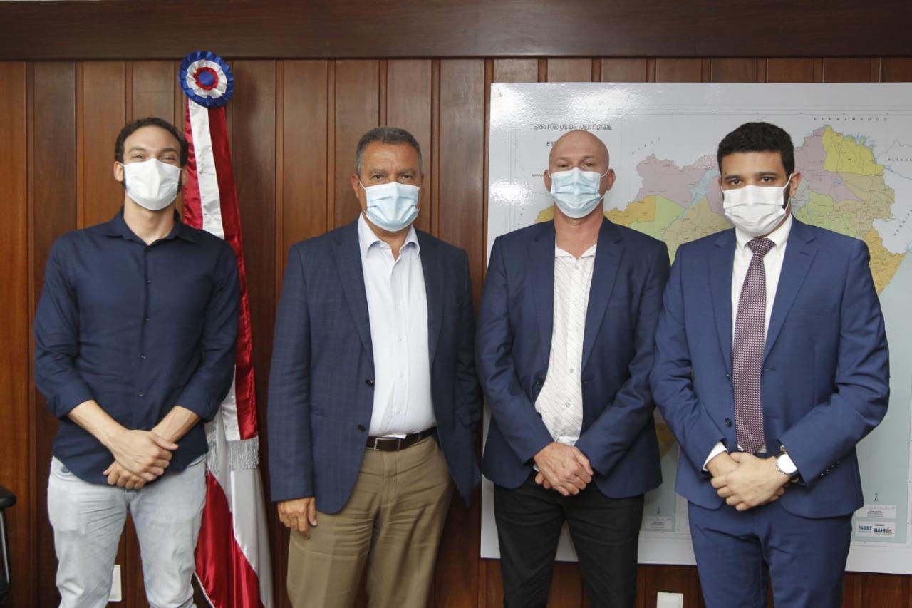 Deputado Uldurico Júnior, Governador Rui Costa, prefeito Luciano Francisqueto, empresário Neto Carletto